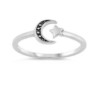 Women's .925 Sterling Silver Oxidized Crescent Moon And Star Shaped Plain Ring