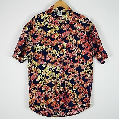 d37c1d1dd MENS RUM REGGAE Fish Fishbone Hawaiian Camp Shirt Size XL - $19.99 ...