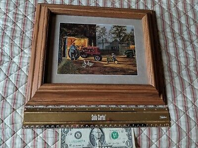John Deere Tractor Farmall Tractor Picture Pro Framed Oak `12in x 10in FarmDecor