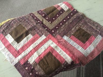 Back In Time Textiles~Antique 1860-70 Log Cabin cutter quilt piece