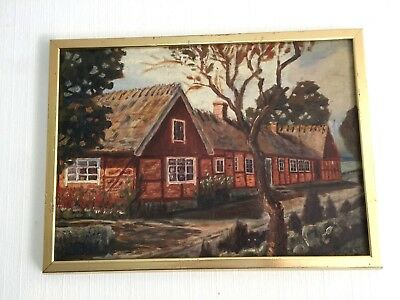 Antique Old Painting 1925 oil paintings sweden home original  jola y with frame