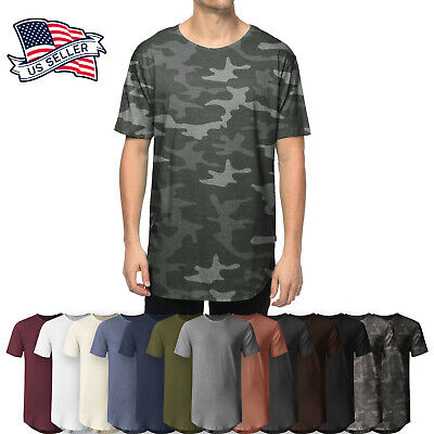 Mens Longline T Shirts Casual Extended Back Hip Hop Hemline BASIC HIPSTER Tee