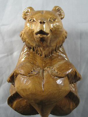 """Small 4-1/2"""" Hand Carved Wooden Bear - Sitting with Heart between it's Feet - PO"""
