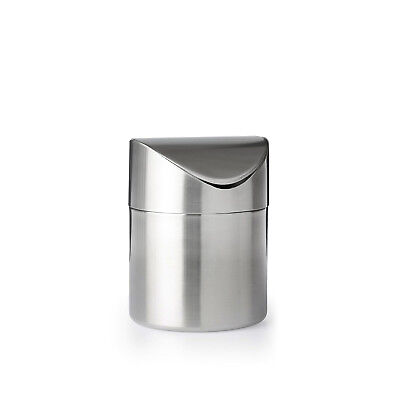Mini Waste Bin Swing Top Small Counter Stainless Steel Tiny Bar Garbage Trash