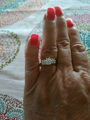 Very nice Sterling Silver (925) Ring with CZ's Size 8.5