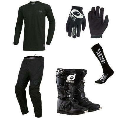 ONeal Element Classic Black motocross Jersey Pants Gloves Socks Boots combo set