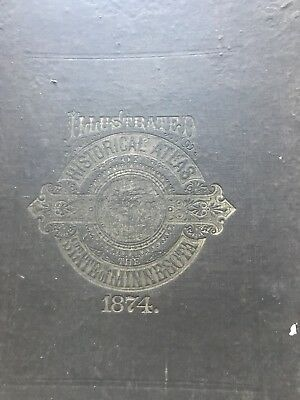 Rare 1874 Illustrated Atlas of Minnesota by Alfred T Andreas