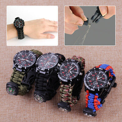 Survival Paracord Watch Bracelet Fire Starter Compass Whistle Sport Outdoor Tool