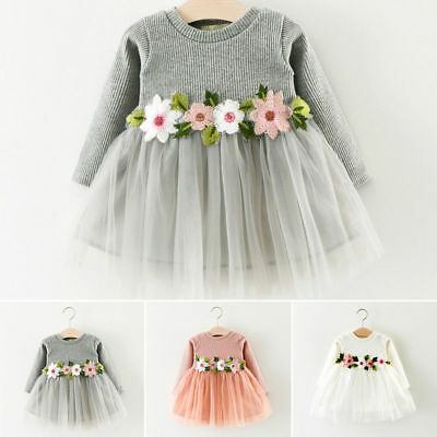 AU Toddler Baby Girl Floral Dress Princess Party Pageant Tulle Tutu Dress Outfit
