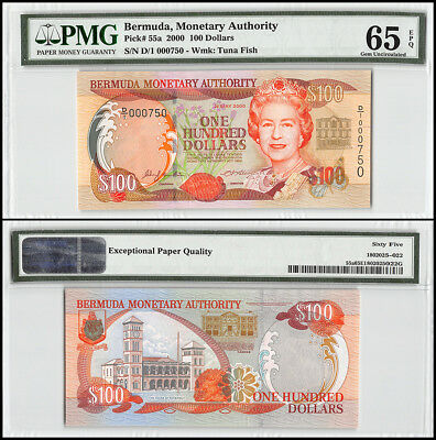 Bermuda 100 Dollars, 2000, P-55a, Queen Elizabeth II, Low Serial # 000750,PMG 65