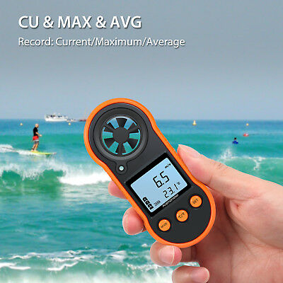 Digital Handheld Anemometer Wind Speed Meter Thermomoter For Sailing Surfing US