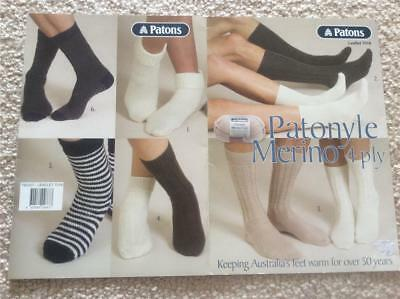 Patons Knitting Leaflet 7016 Patonyle Merino 4 Ply Knit Socks Patterns Designs