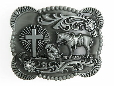 Praying Cowboy Cross Western Silver Tone Metal Belt Buckle