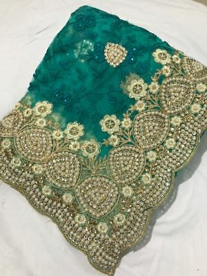 Teal Indian Bollywood Wedding Pakistani Designer NET Saree Embroidery Sari TOP