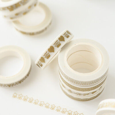 5pcs Gold Foil Adhesive Tape Washi Tape Multi-style Diary Decor Random Color