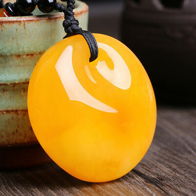 45mm Chicken Oil Yellow Amber Pendant Bead Necklace Peace Buckle Sweater Chain