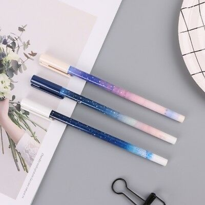 3Pcs 0.35mm Sky Starry Gel Pen Students Office Writing Stationery Signature Pens