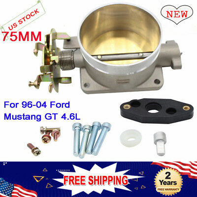 POLISHED THROTTLE BODY 75MM 75 MM 96-04 FORD MUSTANG GT 4.6L SOHC DIRECT FIT