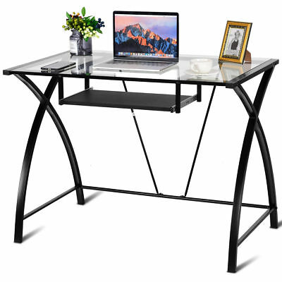 Clear Glass Top Computer Desk W Pull Out Keyboard Tray Home Office Furniture