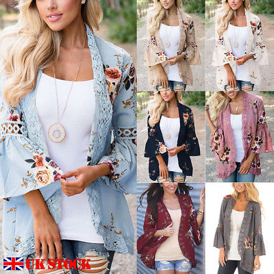 e3a7cd4eee4 UK Plus Size Women Holiday Lace Floral Kimono Cardigan Ladies Summer Tops  Blouse