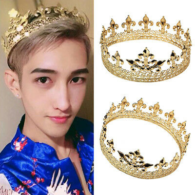 Men's Imperial Medieval Crystal Gold Fleur De Lis King Crown  Plated Prom Party