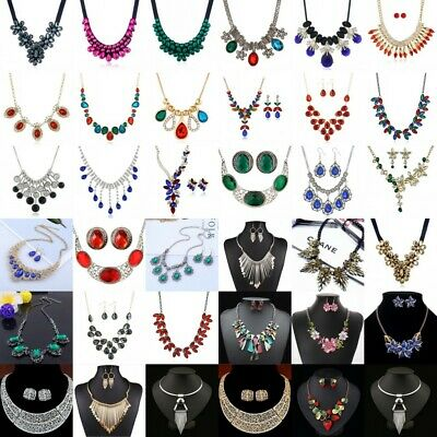 Women Jewelry Pendant Crystal Choker Chunky Statement Chain Bib Necklace Fashion