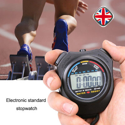 Mini Digital Handheld Sports Stopwatch Stop Watch Timer Alarm Counter Running