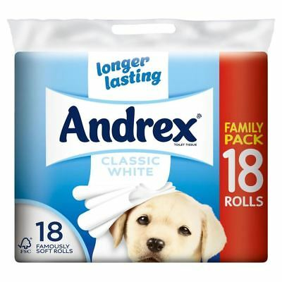 Andrex Classic White Toilet Tissue Rolls - 240 Sheets per Roll (18) - Pack of 6