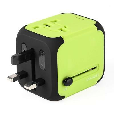 Universal AC Travel Adapter Wall Charger with Dual USB Ports UK/EU/US/AU (Green)