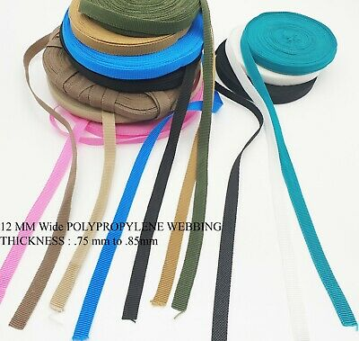 12mm Polypropylene Strap.Light, Strong, Webbing, Straps, Belts, Flexible Quality