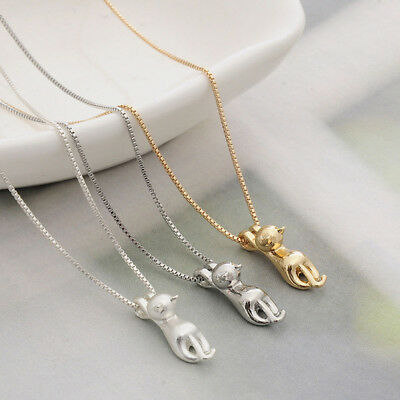 Fashion Women 925 Sterling Silver Cat Hanging Pendant Necklace Charm Jewelry