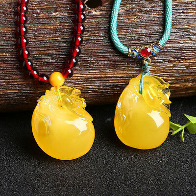38mm Chicken Oil Yellow Amber Pendant Bead Necklace Lucky Bag Sweater Chain