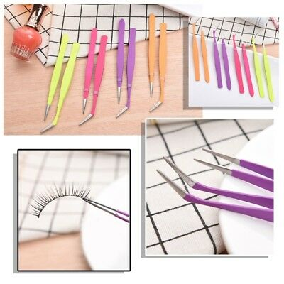 2pcs Stainless Steel Eyelash Extension Tweezers Nippers Pointed Clip Nail Tools