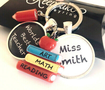 Personalised Best Teacher Name Keyring Nursery School Leaving Present Gift Box