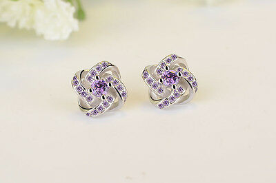 925 Silver Stud Earrings Women Wedding Jewelry Love Forever Elegant Crystal Ear