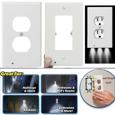 Wall Outlet Cover Plate 2 Plug With LED Night Lights Hallway Bathroom Bedroom