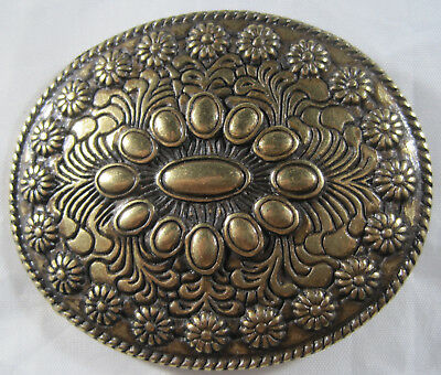 "Floral Design Oval Brass Western Belt Buckle  - 3"" x 2-1/2"" - Preowned"