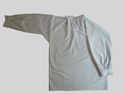 """17th-18th Century Tie Collar Shirt - White Linen - Up to 50"""" Chest"""