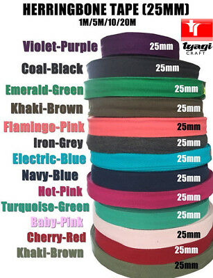 100% Pure Cotton 25mm Herringbone Twill Tape Available in 13 Colours.