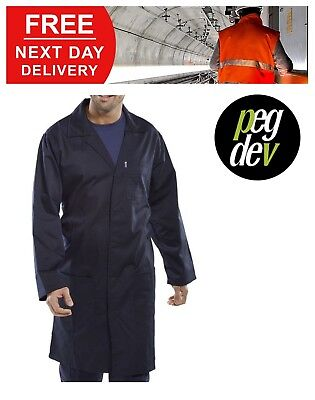 Premium Workwear Navy Polycotton Warehouse Lab Coat Jacket Sizes 34-54 Hgpcwcn