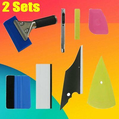 2Pack 8in1 Car Vinyl Sticker Wrap Application Tool Kit Window Film Tint Squeegee