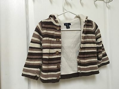 Baby Gap Button Up Hooded Knit Sweater 12-18 mo Super Soft & Cozy Cotton Lined