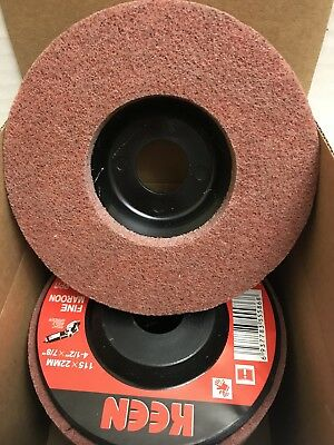 "Box of 5- Maroon Fine Surface Preparation Flap Disc 4-1/2X7/8"" KEEN Brite 55865"
