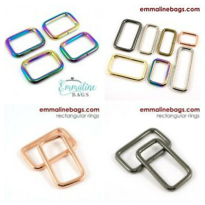 "Emmaline Bags rectangale rings 25mm/1"" - range of finishes - for bags & crafts"
