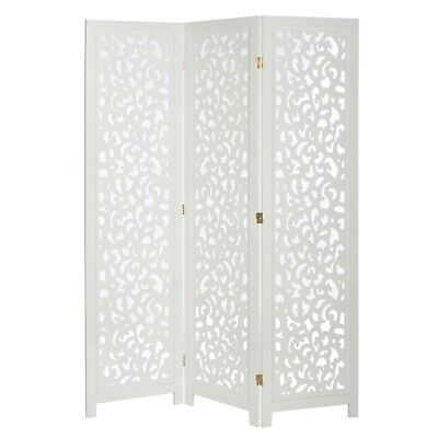3 Panel Solid Wood Screen Room Divider White Color With