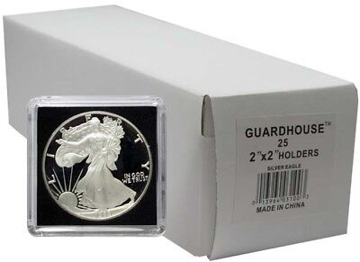 2x2 Snaplocks Safe Coin Holders for American Silver Eagle Size Pack of 25 Black