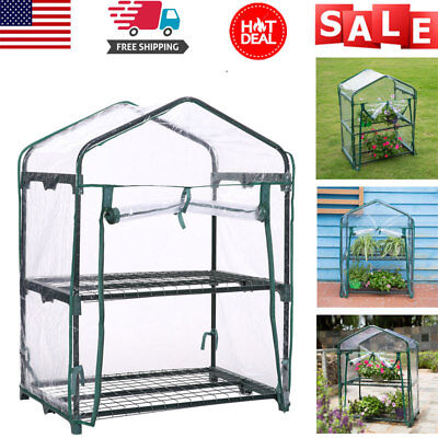 27x19x37 inch 2-Tier Green House Outdoor Plant Gardening Mini Warm Greenhouse