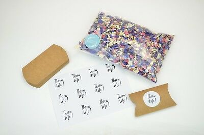 Luxury Biodegradable Wedding Confetti - 12 Kraft Packets, Stickers & 1 Litre