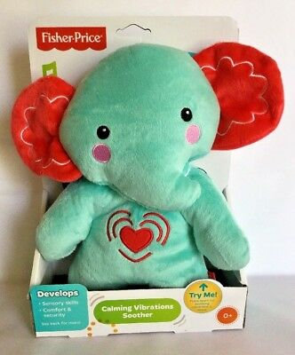 Plush Toy Elephant Calming Vibrations Baby Soother Cuddle Blue Fisher Price New