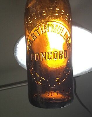 Antique Staten Island NY Brown Beer Bottle Martin Muller Concord Advertising